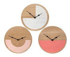 Set de 3 relojes de pared en madera DM - natural y blanco