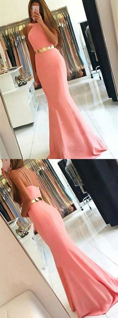 pink mermaid prom party dresses, simple fashion formal evening gowns.