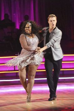 """Amber Riley and Derek Hough cha-cha to Little Mix's """"Wings""""... Dancing with the Stars ... week 1 ... season 17 ... fall 2013  -   Best dance of the night & highest scorer"""