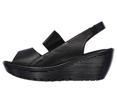 Stride confidently in tailored style and warm weather comfort in the SKECHERS Cali Parallel - Strut sandal.  Smooth leather upper in a wedge heeled casual comfort heel sling slide sandal with Memory Foam comfort footbed.
