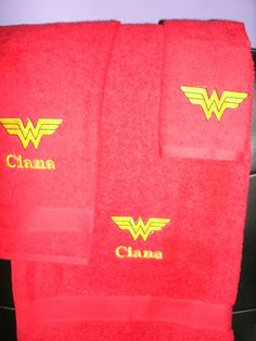 Personalized Wonder Woman Logo Super Hero 3 piece Bath towel, hand towel & Washcloth Set