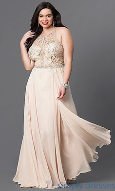 cb7c020a68 Plus-Size Long Formal Dress with Embellished Bodice