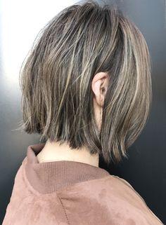 フリンジラッシュ+ホワイトブラウン(髪型ボブ)