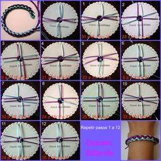 Diy Friendship Bracelets Patterns, Diy Bracelets Easy, Bracelet Fil, Bracelet Crafts, Beaded Jewelry Patterns, Beading Patterns, Lucet, Bijoux Fil Aluminium, Finger Knitting