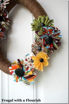 scrappy fabric flower and cool idea for wreath form