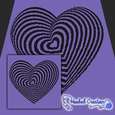 Optical Heart SC Throw Sized Blanket Crochet Pattern - PDF Download