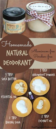 Deodorant- Natural, Aluminum-Free- Primal Pit Paste Inspired Avoid nasty chemicals with homemade deodorant. This Primal Pit Paste inspired natural deodorant is aluminum free, paraben free and even cheaper than the commercial stuff! Deodorant Recipes, Homemade Deodorant, Diy Natural Deodorant, Coconut Oil Deodorant, Vegan Deodorant, Homemade Toothpaste, Natural Soaps, Homemade Soaps, Homemade Facials