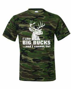 b8a097ba Men's I Like BIG BUCKS And I Cannot Lie Deer Hunting Humor T-Shirt Deer