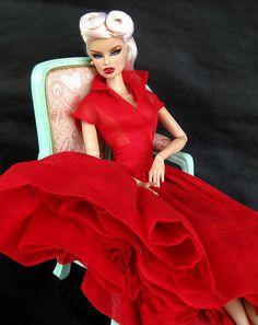 FR 'High Tide' Vanessa...40's hair, 50's retro red shirtwaist dress.