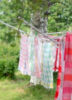 I love my clothesline like this... saves money on the power bill AND I can collapse it or take it down completely when I don't want to see it :)