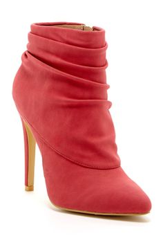 red rouched bootie