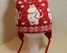 Wonderful hand-made winter hats with moomin pattern