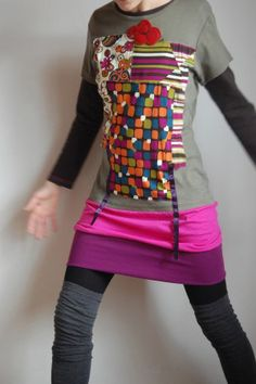 Stitch together old T shirts to make a funky tunic dress.