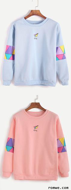 Pink & Blue Patchwork Print Sweatshirt from romwe.com http://amzn.to/2k2HTMQ