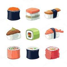 Sushi rolls food icon set by Multigon on @creativemarket