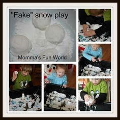 """Momma's Fun World: Make your own """"Fake"""" sensory snow--Mix 3 cups of baking soda to cup hair conditioner Sensory Bins, Sensory Activities, Sensory Play, Sensory Table, Fake Snow, Winter Activities For Kids, Fun World, Special Kids, Toddler Fun"""