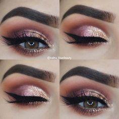 Glam Pink und Gold Eye Makeup Idea Make-up, . - Glam Pink and Gold Eye Makeup Idea makeup, 43 Glitzy NYE Makeup Ideas Silver Eye Makeup, Dramatic Eye Makeup, Formal Makeup, Colorful Eye Makeup, Beautiful Eye Makeup, Pink Makeup, Natural Makeup Looks, Eye Makeup Tips, Smokey Eye Makeup