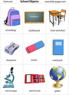 home, school, body parts, colors, etc. Learning English For Kids, English Language Learning, Teaching English, Learn English Words, English Study, English Lessons, Flashcards For Kids, Printable Flashcards, Kindergarten Classroom Decor