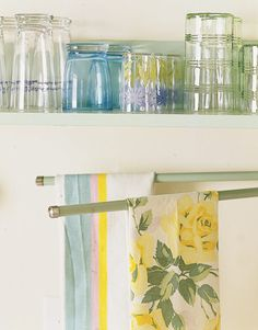 Shelf with collection of vintage 50's glassware