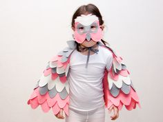 Pink parrot costume for kids. Pink parrot costume for dress up adventures for toddlers and older kids. Halloween costume for girls.