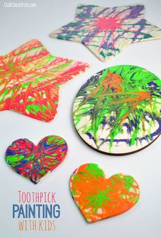 Easy toothpick painting with kids club chica circle - where crafty is conta Camping Crafts, Fun Crafts, Crafts For Kids, Arts And Crafts, Painting For Kids, Art For Kids, Bubble Painting, Finger Painting, Projects For Kids