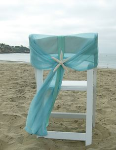 et of 2 Beach Wedding Chair Caps with Starfish or Sand Dollars