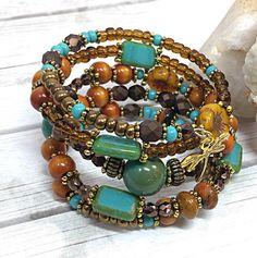 Boho Dragonfly Bracelet - Turquoise Bracelet for Her - Memory Wire Bracelets…
