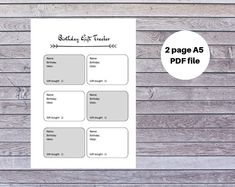 Excited to share this item from my shop: Printable Birthday Gift Tracker It's Your Birthday, Birthday Gifts, Printable Planner, Printables, G Names, Thing 1, Life Organization, Create Yourself, Printer