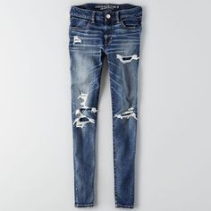 AEO Jegging (Jeans) ($50) ❤ liked on Polyvore featuring jeans, american eagle, torn up, destroyed jeans, stretch jeggings, super stretch jeans, destroyed jeggings and distressing jeans