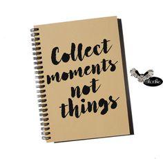 Collect moments not things, notatnik A5 z ekologicznego papieru