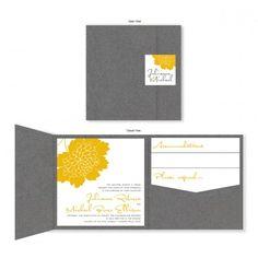 Bliss Square Folio Pocket Floral Wedding Invitations