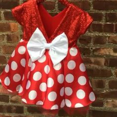 How gorgeous are our Minnie Mouse Tutu Dresses?! Look at that back though!  http://www.bellethreads.com/collections/sparkle-dress/products/retro-girl-mouse-polka-dot-dress