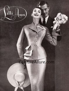 From 1956, this suit is made of Sabine stripe fabric woven in France exclusively for Lilli Ann in beige, pink, and gray-blue. The asymmetric collar balances the pockets on the opposite side. Sold in 1956 for about $100.00 (about $802.00 in today's dollar.)