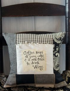 coffee and wine quote hand painted pillow by lessoules on Etsy, $40.00