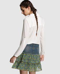 Falda de mujer Fórmula Joven con canesú vaquero y estampado floral Ropa  Para Niñas b8fc1c9720b