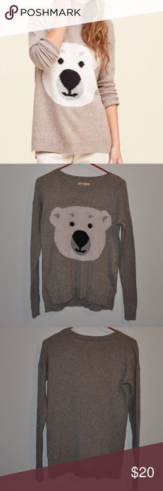Hollister Cute Polar Bear Sweater Small Cutest sweater ever. Brand is Hollister. Color is Beige/Grey. Size is small and fits oversized. Like new, barely worn. Fitted picture is not my own. Hollister Sweaters