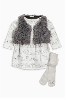 Print Dress, Gilet And Tights Set (0mths-2yrs)