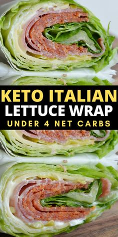 Crunchy iceberg lettuce is wrapped around thick slices of pepperoni, salami and smoked Gouda! At about 3 net carbs this Italian lettuce wrap is the ultimate low carb, keto friendly lunch!  #keto #mealprep Crockpot Chicken Healthy, Healthy Crockpot Recipes, Beef Recipes, Diabetic Recipes, Italian Recipes, Vegan Recipes, Cooking Recipes, Healthy Low Calorie Meals, Low Carb Keto