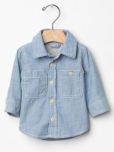457aeef22e30 GAP Baby / Toddler Boy 0-3 Months NWT Jersey-Lined Denim Chambray Shirt