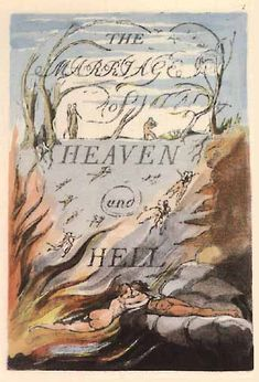 William Blake, Marriage of Heaven and Hell, relief printed etched copper plate with hand coloring