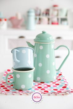 Syl loves, minty, mint, polkadot,  pastel love, enamel, retro, #kitchen