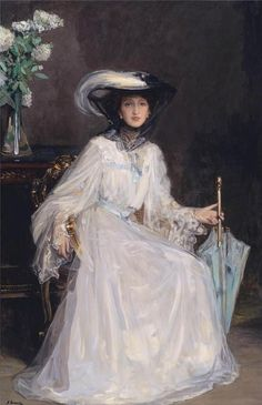 ▴ Artistic Accessories ▴ clothes, jewelry, hats in art - Evelyn Farquhar - John Lavery, 1906