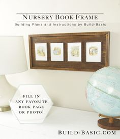 Nail molding and hobby boards to a piece of wood and you have a beautiful rustic frame that's perfect for mounting storybook pages, children's artwork, family photos and more! Full instructions and images by @BuildBasic  www.build-basic.com