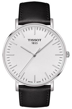 Tissot Everytime Big Quartz  Watch with Silver Dial and Black Leahter Strap