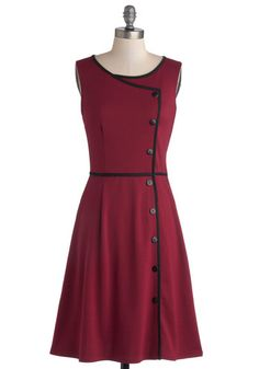 Chord-ially Yours Dress in Magenta - Knit, Mid-length, Red, Black, Buttons, Trim, Casual, Sleeveless, Better, Scoop, Vintage Inspired, Varia...