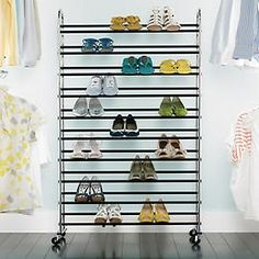Shoe Rack $79.00- Chrome 10-Tier Rolling Shoe Rack  Serious shoe aficionados love our Chrome 10-Tier Rolling Shoe Rack. It can hold up to 50 pairs of shoes without taking up much floor space, and it can easily be rolled into a closet or dressing room. Its large capacity can store any kind of footwear, from high heels and flats to athletic shoes, so you can store and view your entire shoe wardrobe quickly.    Made from sturdy chrome-plated steel  Ten tiers with non-slip bars  Simple…