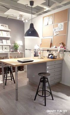 Absolute BEST IKEA Craft Room Ideas - the Original! The BEST Ikea Craft Rooms Organizing Ideas - this is a craft room inside an IKEA showroom! Perfect for a basement or in a large living area. See more in this post by craft expert Jennifer Priest. Ikea Craft Room, Craft Room Storage, Storage Ideas, Organization Ideas, Craft Room Tables, Organizing Ideas For Office, Craft Room Organizing, Craft Table Ikea, Art Studio Storage