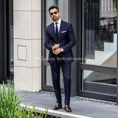 Navy Blue Blazer Men Suits For Wedding Suits Business Bridegroom Slim Fit Formal Groom Wear Prom Tuxedos Custom Made Best Man Jacket Pants - homme Mens Fashion Blog, Mens Fashion Suits, Mens Suits, Style Fashion, Suits For Guys, Prom Suits For Men, Suit Up, Suit And Tie, Mens White Suit