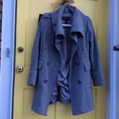 Eddie Bauer gray wool coat Excellent condition. Worn once.65% wool 35% viscose lining. Cool detail, high neck collar Eddie Bauer Jackets & Coats Pea Coats