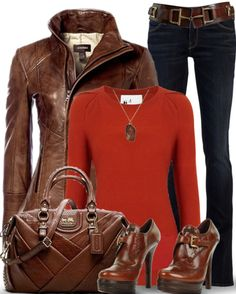 Brown leather, Jeans, Orange sweater - Semi Formal Outfit